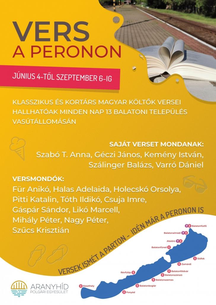 A partok mellett a peronokon is hallhatók versek a Balatonnál idén nyáron